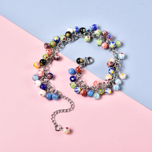 Multi Colour Murano Style Glass Beads Anklet (Size 9 with 2 inch Extender and Lobster Lock) in Stainless Steel.