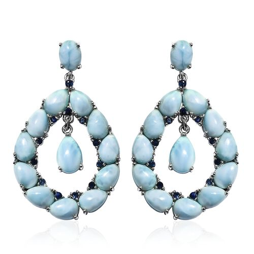 Larimar (Ovl), Kanchanaburi Blue Sapphire Earrings (with Push Back) in Platinum Overlay Sterling Sil