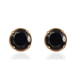 Elite Shungite (Rnd) Stud Earrings (with Push Back) in 14K Gold Overlay Sterling Silver 1.50 Ct.
