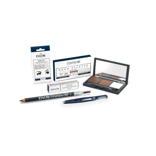 BROW KIT- Eylure Firm Brow Pencil Mid Brown, Eye Brow Palette Mid Brown, Brow Stencils, Brow Nourishing /Oil and Brow & Lash Tweezer with Comb