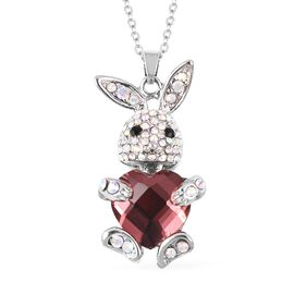Simulated Garnet (Hrt), Austrian Mystic White and Black Crystal Bunny Pendant With Chain (Size 20 wi