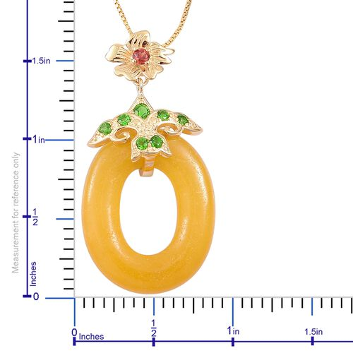 Rare Honey Jade, Russian Diopside and Mozambique Garnet Cereus Flower Pendant with Chain in Yellow Gold Overlay Sterling Silver 20.670 Ct.