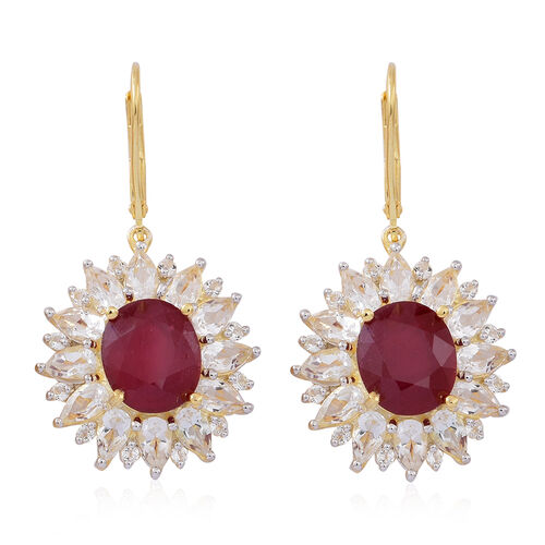 AAA African Ruby (Ovl), White Topaz Lever Back Earrings in 14K Gold Overlay Sterling Silver 17.000 Ct.