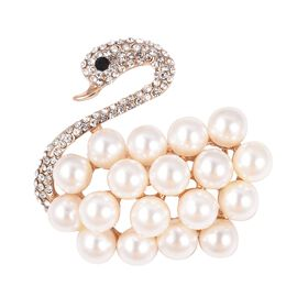 Simulated Pearl, White and Black Austrian Crystal Swan Brooch in Gold Tone