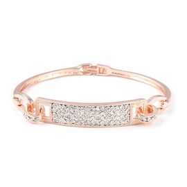 White Austrian Crystal (Rnd) Bracelet (Size 6.75) in Rose Gold Tone