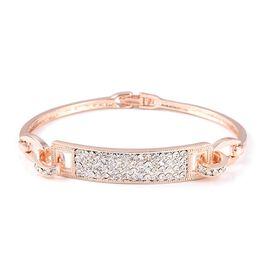Designer Inspired-White Austrian Crystal (Rnd) Bracelet (Size 7.5) in Rose Gold Plated
