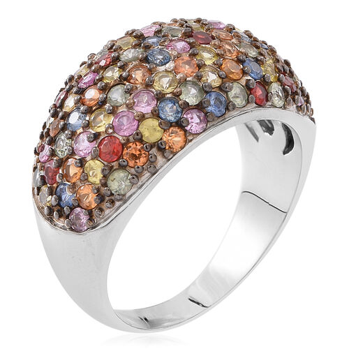 Designer Inspired -Rainbow Sapphire (Rnd) Ring in Rhodium Plated Sterling Silver 4.750 Ct.