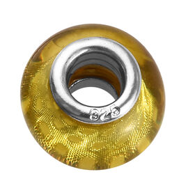 Charmes De Memoire Yellow Murano Glass Bead Charm in Platinum Plated Sterling Silver