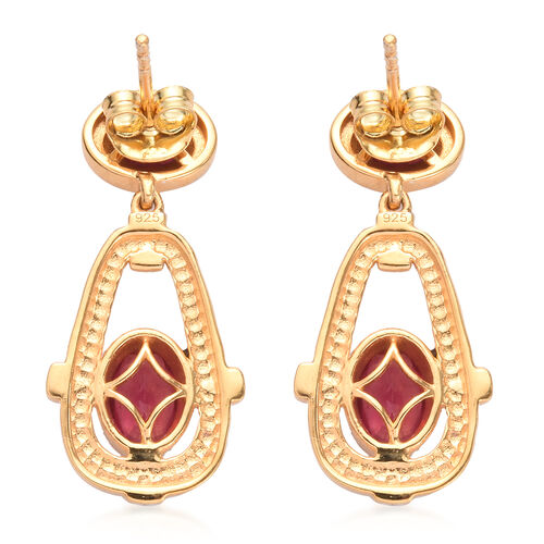 Designer Inspired African Ruby Dangle Earrings (with Push Back) in 14K Gold Overlay Sterling Silver 3.00 Ct.