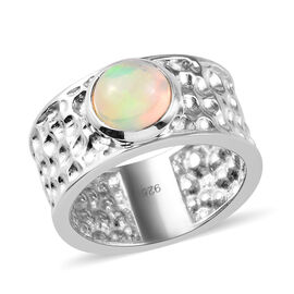 AA Ethiopian Welo Opal Band Ring in Platinum Overlay Sterling Silver 1.00 Ct.