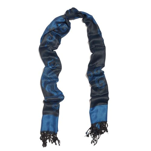 Limited Edition- Designer Inspired-Blue and Black Colour Dragonfly Pattern Jacquard Scarf with Tassels (Size 180X70 Cm)