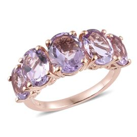 Rose De France Amethyst (Ovl) 5 Stone Ring in Sterling Silver 7.500 Ct.
