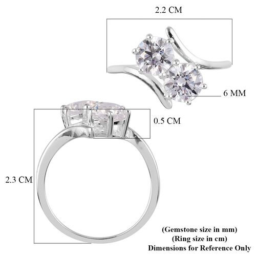 J Francis - Sterling Silver Ring Made with SWAROVSKI ZIRCONIA  2.88 Ct.