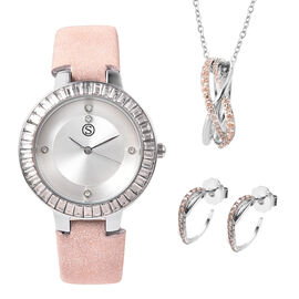 3 Piece Set - STRADA Japanese Movement White Austrian Studded Water Resistant Watch with Nude Pink S