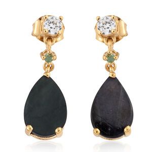 Spectrolite (Pear), Natural Cambodian Zircon and Kagem Zambian Emerald Earrings (with Push Back) in 14K Gold Overlay Sterling Silver 4.500 Ct.