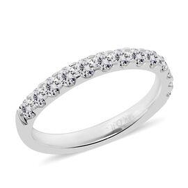 14K White Gold Diamond (Rnd) (I1/G-H) Single Row Band Ring 0.720 Ct.