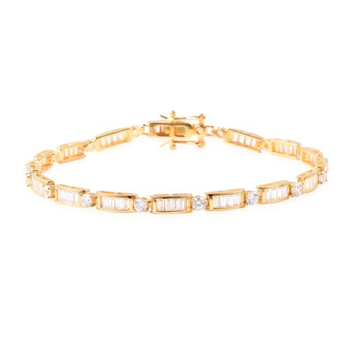 ELANZA Simulated Diamond Link Bracelet in Gold Plated Sterling Silver 8.13 Grams 7.5 Inch