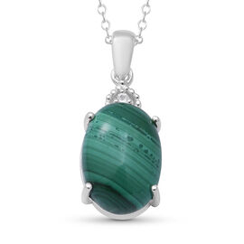 Malachite and Natural Cambodian Zircon Pendant with Chain (Size 18) in Sterling Silver 7.04 Ct.