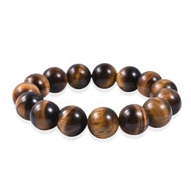 13-15mm Yellow Tiger Eye Beaded Bracelet 539 Ct Size 6.5 Inch