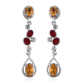 Citrine and Natural Cambodian Zircon Dangle Earrings (with Push Back) in Platinum Overlay Sterling S