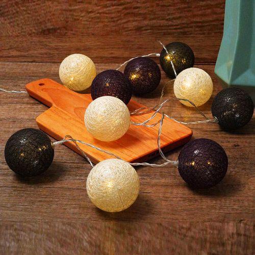 10 LED Balls String Light (Total Length: 180cm) - Black, White and Purple