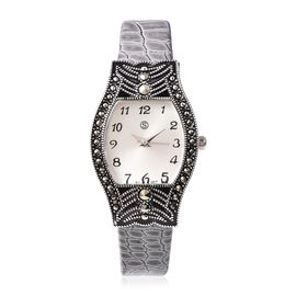 STRADA Japanese Movement Studded Swiss Marcasite (Rnd) Water Resistant Watch - Grey