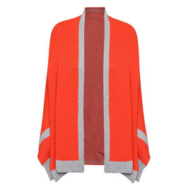 Kris Ana Coloured Border Cardigan One Size (8-20); L=70 Cm - Orange and Grey