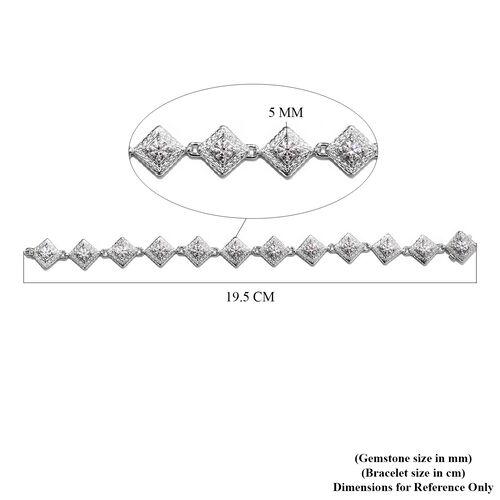 J Francis Platinum Overlay Sterling Silver Bracelet (Size 7.5) Made with SWAROVSKI ZIRCONIA 10.22 Ct, Silver wt 18.00 Gms