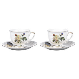 Set of 6 - European Cup Set with Rose Pattern in White and Yellow Colour