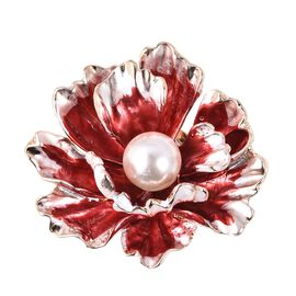 Simulated Pearl (Rnd) Enameled Floral Brooch in Gold Tone