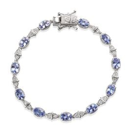 Tanzanite and Natural Cambodian Zircon Tennis Bracelet (Size 7) in Platinum Overlay Sterling Silver