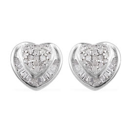 Diamond (Rnd and Bgt) Heart Stud Earrings (with Push Back) in Platinum Overlay Sterling Silver 0.330 Ct.