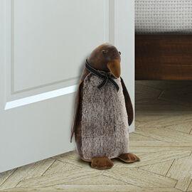 Lesser & Pavey Faux Leather Penguin Doorstop in Brown (38X16 CM)