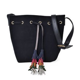Black Colour Crossbody Bag with Adjustable Shoulder Strap and Colourful Tassels (Size 31X26X13 Cm)
