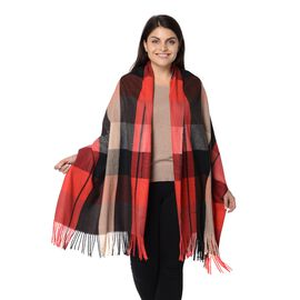 Designer Inspired-Plaid Pattern Winter Shawl with Tassels -Red and Multi