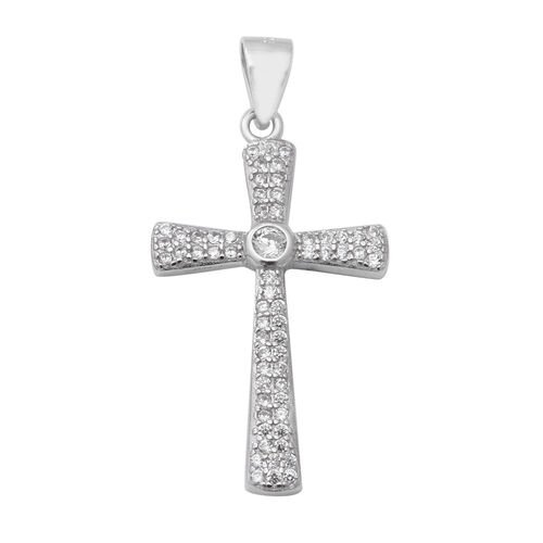ELANZA Simulated Diamond (Rnd) Cross Pendant in Rhodium Overlay Sterling Silver