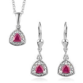 3 Piece Set - African Ruby and Diamond Pendant with Chain (Size 18) and Lever Back Earrings in Plati