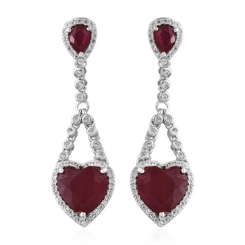 11.50 Ct African Ruby and Zircon Drop Earrings in Platinum Plated Silver 6.61 Grams