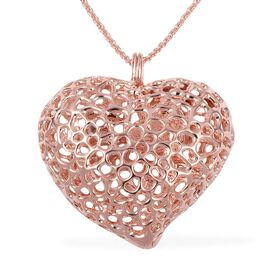 RACHEL GALLEY Rose Gold Overlay Sterling Silver Amore Heart Pendant with Chain (Size 30), Silver wt.