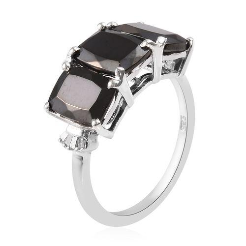 Elite Shungite (Cush), Diamond Ring in Platinum Overlay Sterling Silver 2.50 Ct.