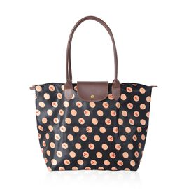 Super Chic Light Weight Water Resistant Cherry Polka Dot Print  Extra Large Tote Handbag (46x36x16 cm)