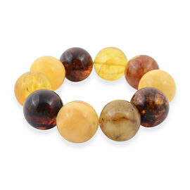 Multi Colour Baltic Amber (Rnd 20mm) Stretchable Beads Bracelet