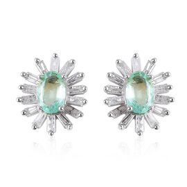 Boyaca Colombian Emerald (Ovl), Diamond Stud Earrings (with Push Back) in Rhodium Overlay Sterling S