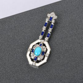 Arizona Sleeping Beauty Turquoise and Natural Cambodian Zircon Enamelled Pendant in Platinum Overlay Sterling Silver 1.500 Ct.