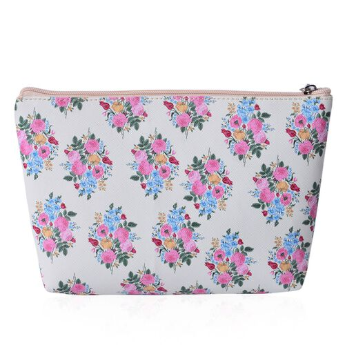 Set of 3 - Pink, Green and Multi Colour Floral Pattern with Black Colour Lining Large Cosmetic Bag (Size 20x16x7 Cm), Middle Cosmetic Bag (Size 18x15x5 Cm) and Small Cosmetic Bag (Size 14x10x4 Cm)