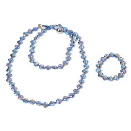 2 Piece Set -  Simulated Blue AB Crystal Necklace (Size 35 with Magnetic Lock) and Bracelet (Size 6.
