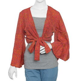 Spring Special Red Floral Printed Long Sleeve Top Size one