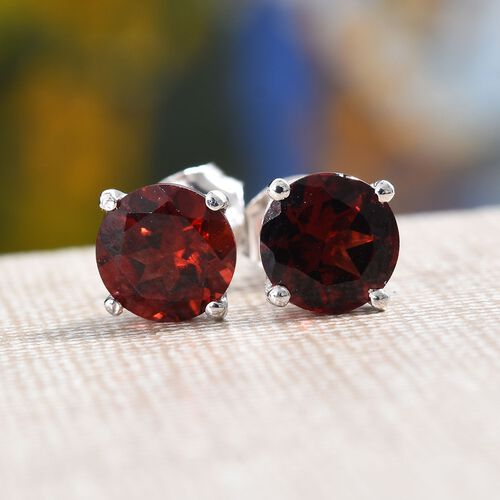 Mozambique Garnet (Rnd) Stud Earrings (with Push Back) in Platinum Overlay Sterling Silver 3.00 Ct.