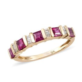 1.10 Ct AAA Burmese Ruby and Diamond Eternity Band Ring in 9K Yellow Gold 2.16 Grams