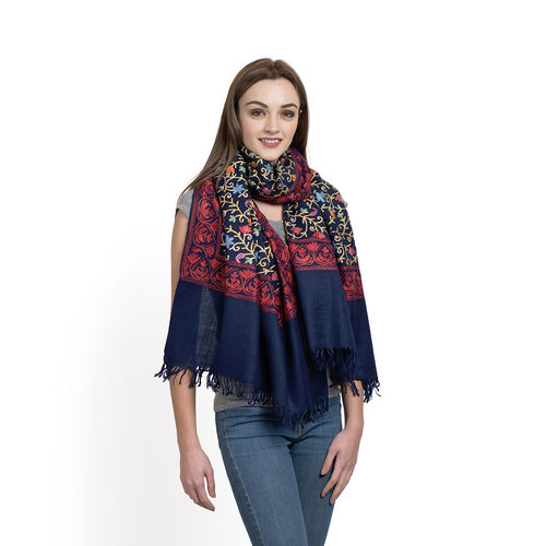 100% Merino Wool Red and Multi Colour Floral Embroidery Blue Colour Shawl with Fringes at the Bottom